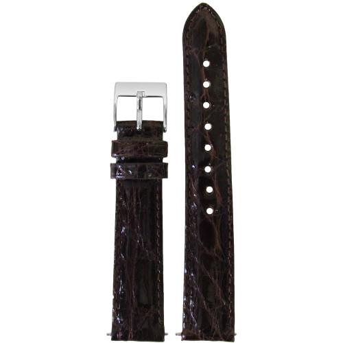 16mm Chocolate Genuine Crocodile, Handmade Watch Strap with Match Stitching (for Michele) | Panatime.com
