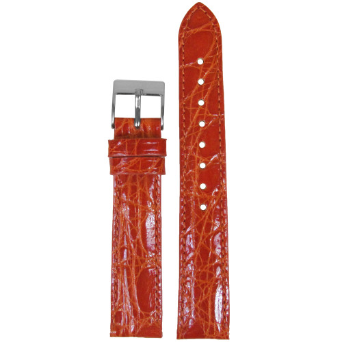 16mm Orange Genuine Crocodile, Handmade Watch Strap with Match Stitching (for Michele) | Panatime.com