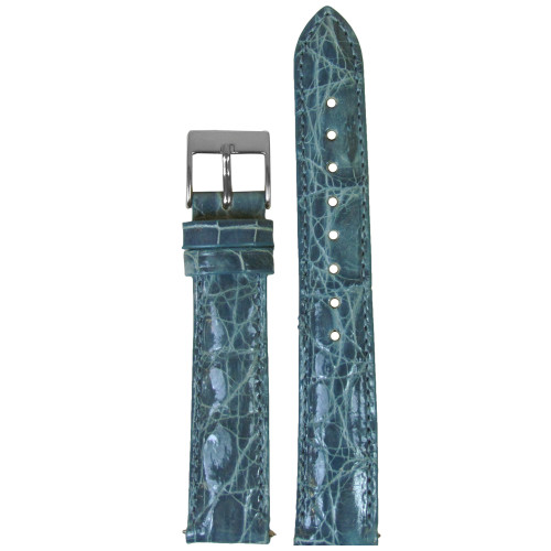 16mm Slate Blue Genuine Crocodile, Handmade Watch Strap with Match Stitching (for Michele) | Panatime.com