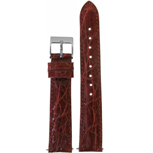 18mm Chestnut Genuine Crocodile, Handmade Watch Strap with Match Stitching (for Michele) | Panatime.com