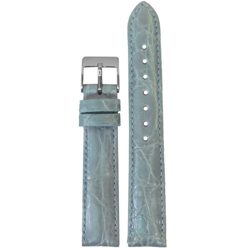 18mm Pearl Blue Genuine Crocodile, Handmade Watch Strap with Match Stitching (for Michele) | Panatime.com