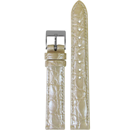 18mm Pearl Champagne Genuine Crocodile, Handmade Watch Strap with Match Stitching (for Michele) | Panatime.com