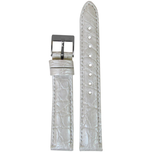 18mm Pearl White Genuine Crocodile, Handmade Watch Strap with Match Stitching (for Michele) | Panatime.com