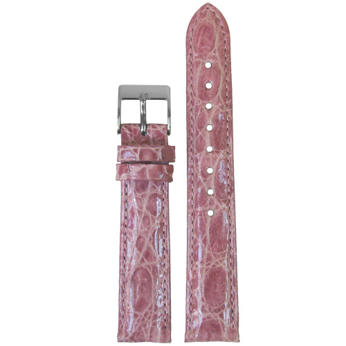 18mm Pink Genuine Crocodile, Handmade Watch Strap with Match Stitching (for Michele) | Panatime.com