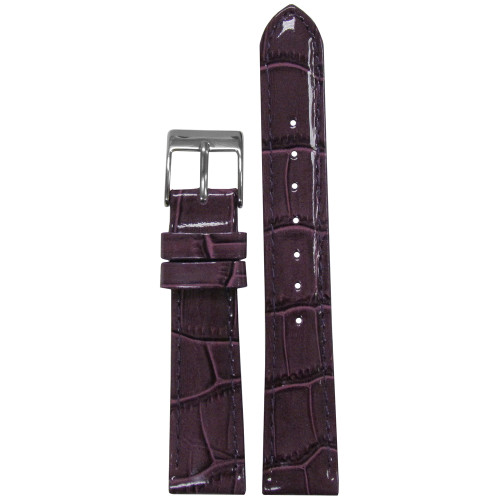 18mm Purple Embossed Leather Gator Watch Strap with Match Stitching (for Michele) | Panatime.com