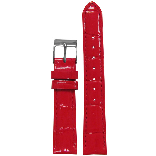 18mm Red Embossed Leather Gator Watch Strap with Match Stitching (for Michele) | Panatime.com