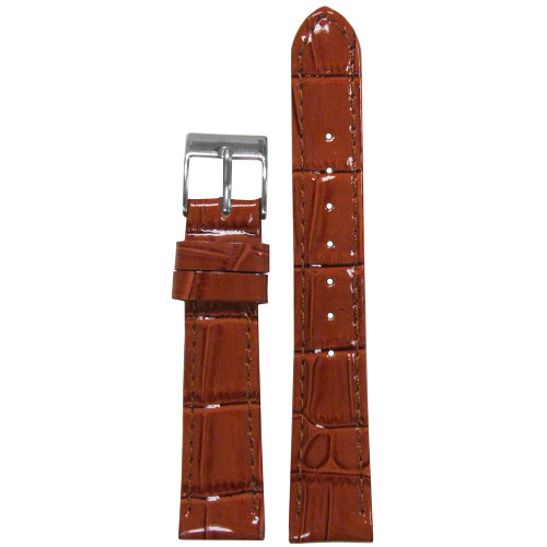 16mm Chestnut Embossed Leather Gator Watch Strap with Match Stitching (for Michele) | Panatime.com
