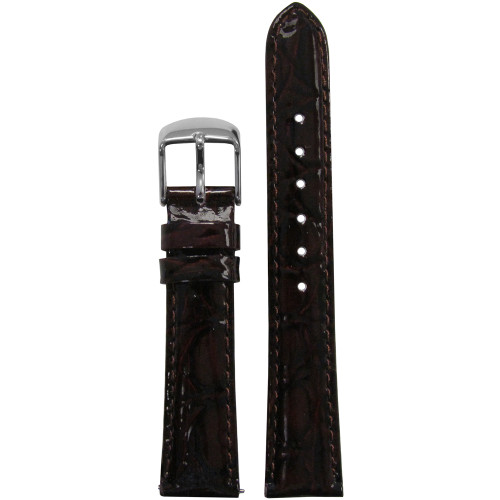 16mm Dark Brown Glossy Embossed Leather Gator Watch Strap with Match Stitching (for Michele) | Panatime.com