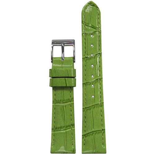 16mm Green Apple Embossed Leather Gator Watch Strap with Match Stitching (for Michele) | Panatime.com