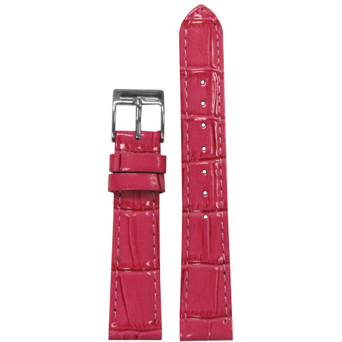16mm Pink Embossed Leather Gator Watch Strap with Match Stitching (for Michele) | Panatime.com