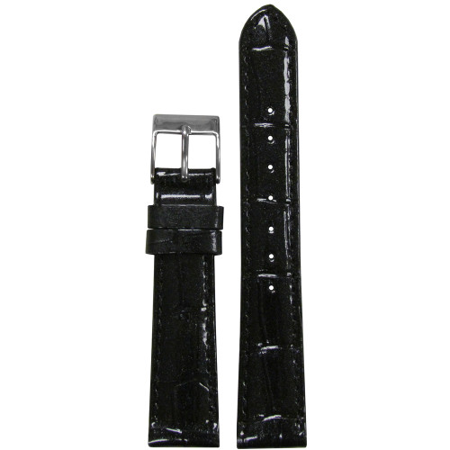 16mm Black Sparkling Embossed Leather Gator Watch Strap with Match Stitching (for Michele) | Panatime.com