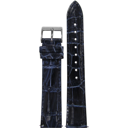 16mm Dark Blue Glossy Genuine Handmade Alligator Watch Strap with Match Stitching | Panatime.com