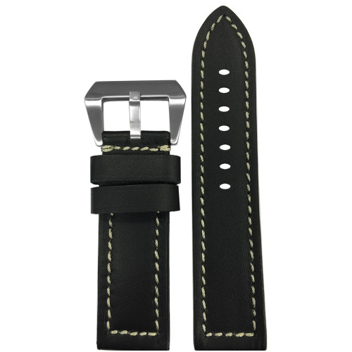 22mm Short Black 190 Soft Calf Leather Watch Strap with White Stitching | Panatime.com