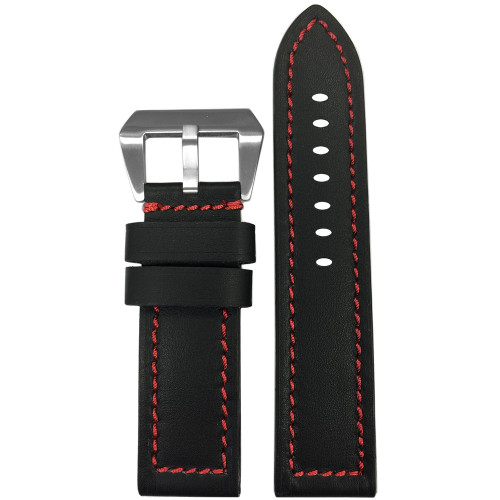 22mm Short Black 190 Soft Calf Leather Watch Strap with Red Stitching | Panatime.com