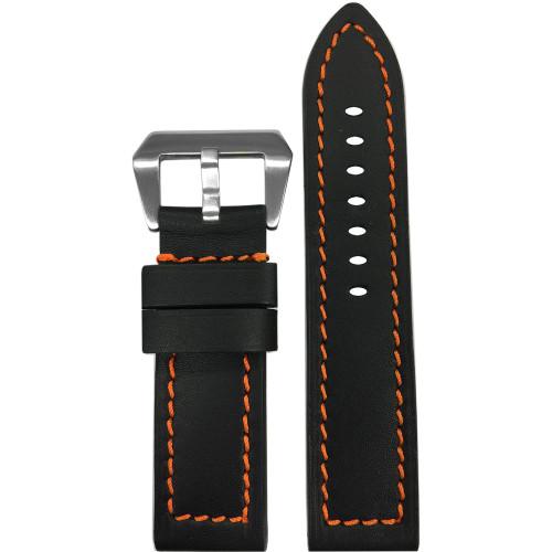 24mm Black 190 Soft Calf Leather Watch Strap with Orange Stitching | Panatime.com