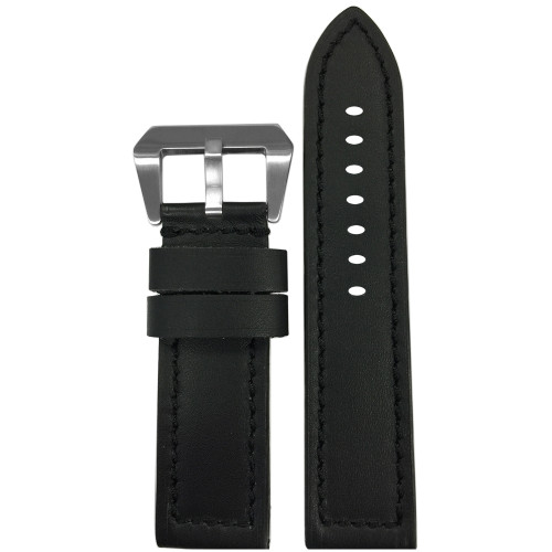 24mm Short Black 190 Soft Calf Leather Watch Strap with Black Stitching | Panatime.com