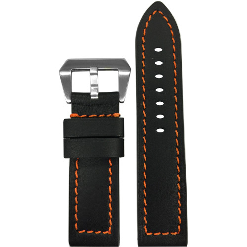 24mm (XL) Black 190 Soft Calf Leather Watch Strap with Orange Stitching | Panatime.com