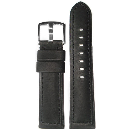 22mm Black 190 Genuine Soft Calf Padded Leather Watch Strap with Black Stitching | Panatime.com