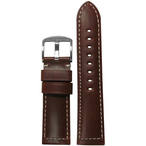 20mm Brown 190 Soft Calf Padded Leather Watch Strap with White Stitching | Panatime.com