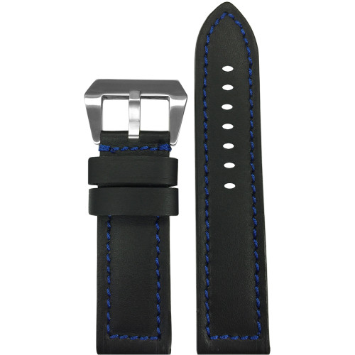 22mm Short Black 190 Soft Calf Leather Watch Strap with Blue Stitching | Panatime.com
