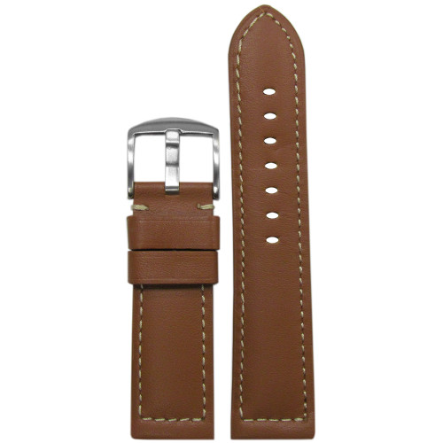 24mm (XL) Tan 190 Padded Soft Calf Leather Watch Strap with White Stitching | Panatime.com