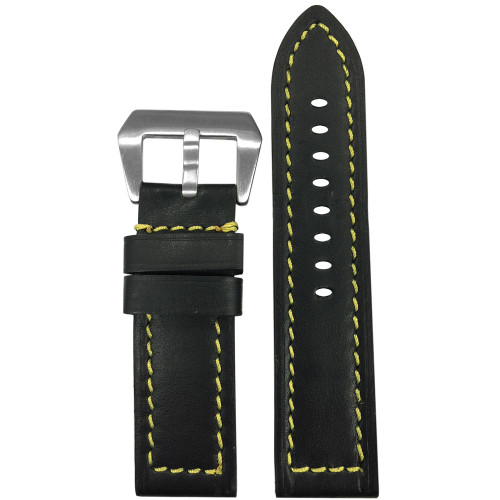 24mm Short Black 190 Soft Calf Leather Watch Strap with Yellow Stitching | Panatime.com