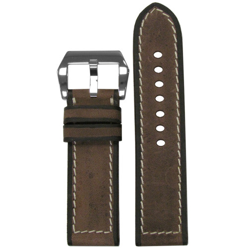 24mm Brown Blacksmith Genuine Vintage Leather Watch Strap with Black Painted Edges and White Stitching | Panatime.com