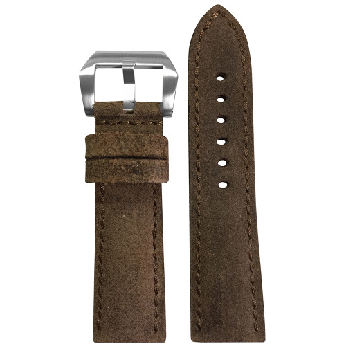 24mm Brown Rough Genuine Vintage Leather, Padded Watch Strap with Match Stitching For Panerai | Panatime.com