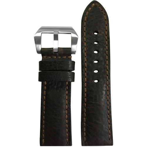24mm Brown Darkest Deep Oil Genuine Leather, Padded Watch Strap with Brown Stitching For Panerai | Panatime.com
