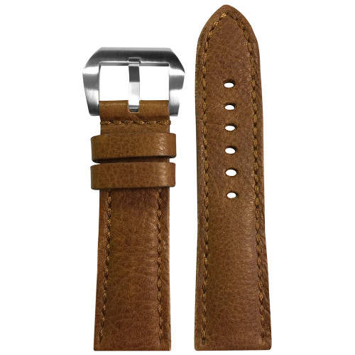 22mm Honey Genuine Vintage Leather, Padded Watch Strap with Match Stitching For Panerai | Panatime.com