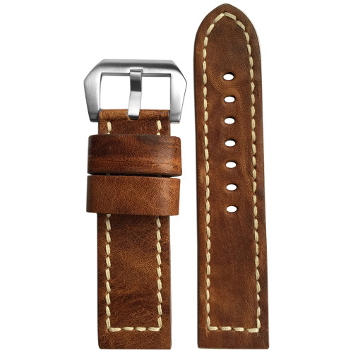 22mm (XL) Burnt Chestnut Genuine Vintage Leather Watch Strap with White Stitching For Panerai | Panatime.com
