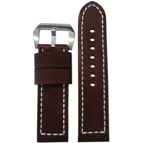 22mm Dark Walnut Genuine Vintage Leather Watch Strap with White Box Stitching | Panatime.com
