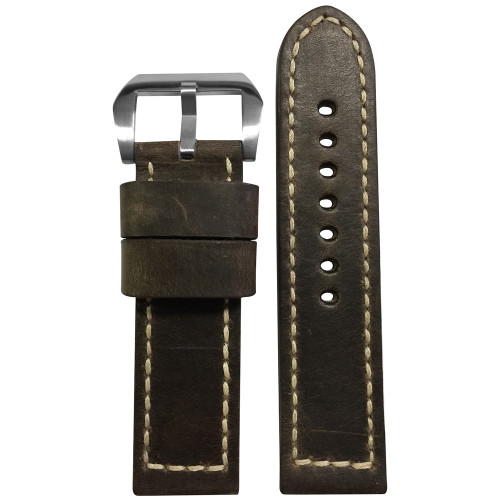 24mm Brown Deep Distressed Genuine Vintage Leather Watch Strap with White Box Stitching | Panatime.com