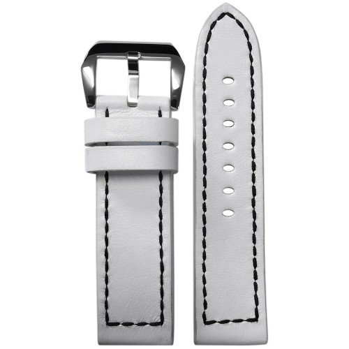 24mm White Genuine Vintage Leather Watch Strap with Black Box Stitching for Panerai | Panatime.com