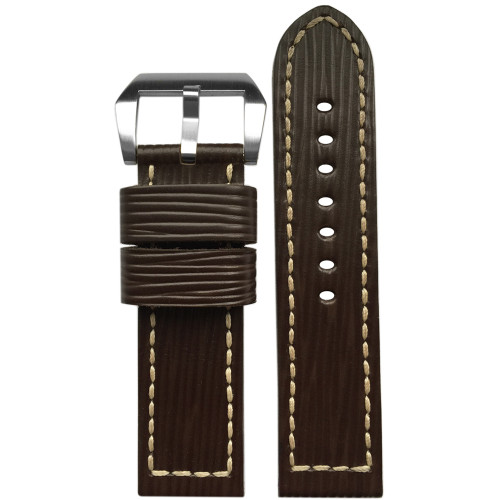 24mm Wood Genuine Vintage Leather Watch Strap with White Box Stitching | Panatime.com