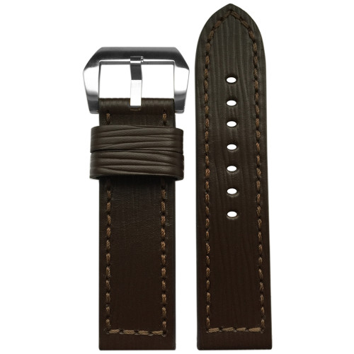 24mm Wood Genuine Vintage Leather Watch Strap with Match Box Stitching | Panatime.com