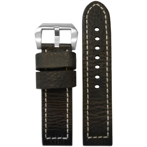 "24mm (XL) Dark Brown ""Bomber"" Genuine Vintage Leather Watch Strap with White Box Stitching | Panatime.com"