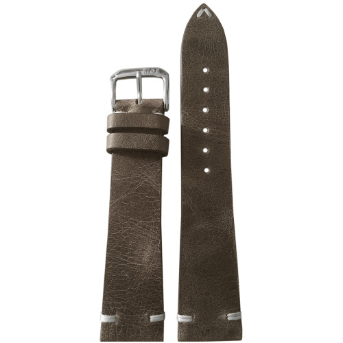 18mm Grey Genuine Vintage Leather Watch Strap with Minimal White Hand Stitching | Panatime.com