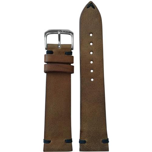 18mm Medium Brown Genuine Vintage Leather - Minimal Black Hand Stitching   Panatime.com