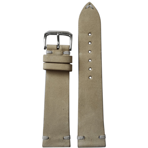 20mm Beige Genuine Vintage Leather Watch Strap with Minimal White Hand Stitching | Panatime.com