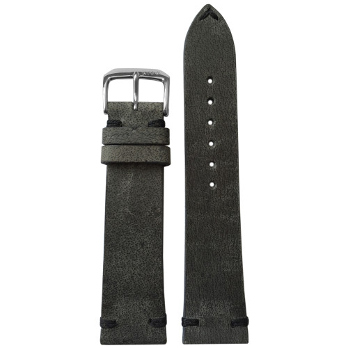 20mm (XL) Charcoal Genuine Vintage Leather Watch Strap with Minimal Black Hand Stitching | Panatime.com