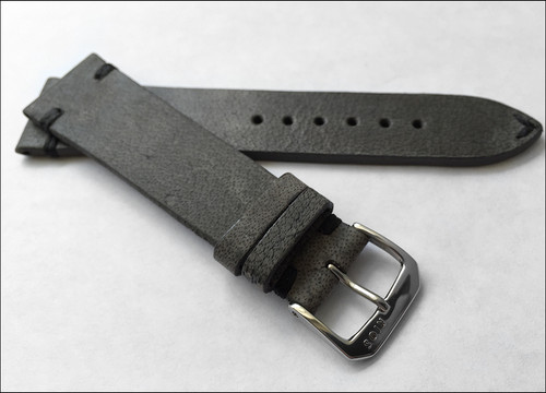 a8a0ac89c ... 20mm (XL) Charcoal Genuine Vintage Leather Watch Strap with Minimal  Black Hand Stitching ...