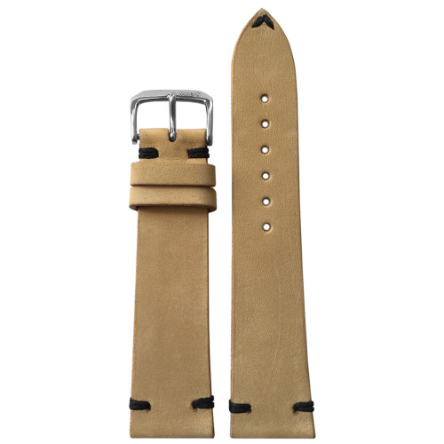 22mm Beige Genuine Vintage Leather Watch Strap with Minimal Black Hand Stitching  | Panatime.com
