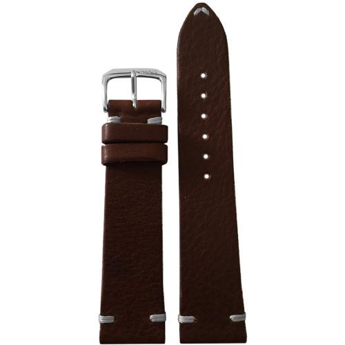 22mm Dark Brown Genuine Vintage Leather Watch Strap with Minimal White Hand Stitching | Panatime.com