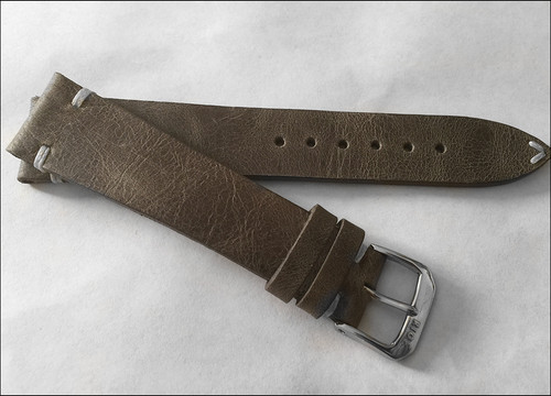 990cdc94e ... 22mm Grey Genuine Vintage Leather Watch Strap with Minimal White Hand  Stitching | Panatime.com ...