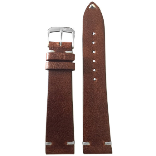 22mm Classic Brown Genuine Vintage Leather - Minimal White Hand Stitching | Panatime.com