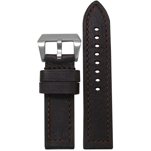 20mm (XXL) Darkest Brown Deep Oil Genuine Leather - Flat, Match Stitching | Panatime.com