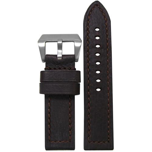 22mm (XL) Darkest Brown Deep Oil Genuine Leather - Flat, Match Stitching | Panatime.com
