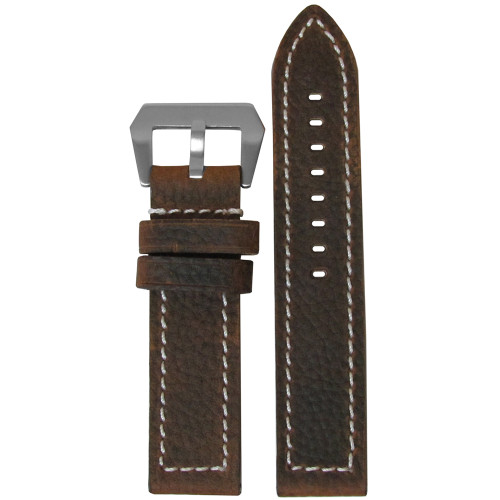 26mm Brown Vintage Buffalo Deep Oil - Flat, White Stitching | Panatime.com