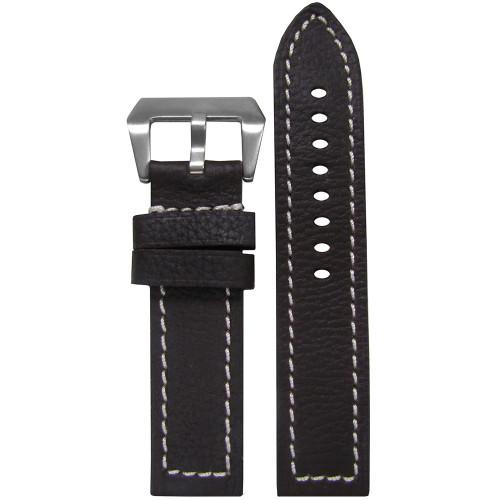 24mm (XXL) Darkest Brown Deep Oil Genuine Leather - Flat, White Stitching | Panatime.com
